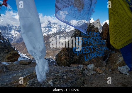 View from Renjo La pass, Nepalese Himalayas, Everest Region, looking back towards Lungde and Tibetan range - Stock Photo