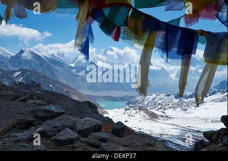 View from Renjo La pass 5360m, Himalaya range, Everest central, Nepal, looking towards Gokyo - Stock Photo