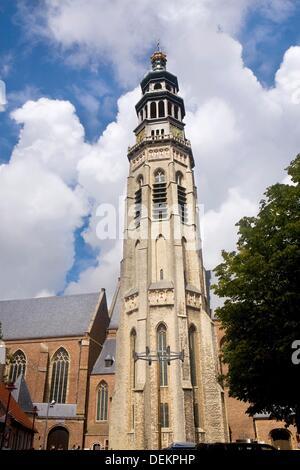 Lange Jan tower of Niewe Kerk, abbey, in Middelburg, Zeeland province, Holland - Stock Photo