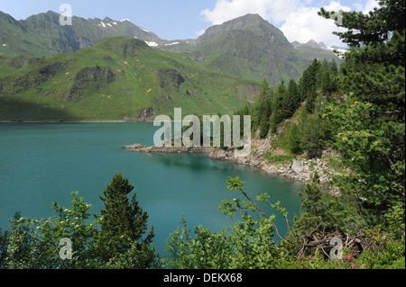 Lake Ritom at Piora on the Swiss alps - Stock Photo