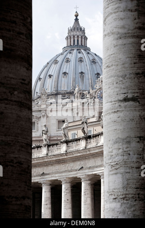 Ornate dome viewed from between pillars - Stock Photo