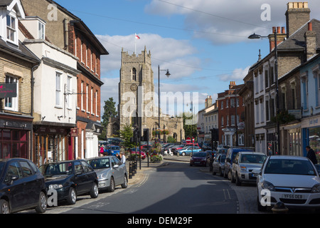 A view from Gainsborough Street, looking up Market Square towards St Peter's Church in Sudbury, Suffolk. - Stock Photo