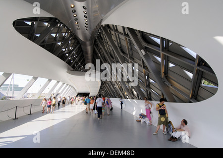 Bridge Pavilion designed by architect Zaha Hadid, Expo Zaragoza 2008. Zaragoza, Aragon, Spain - Stock Photo
