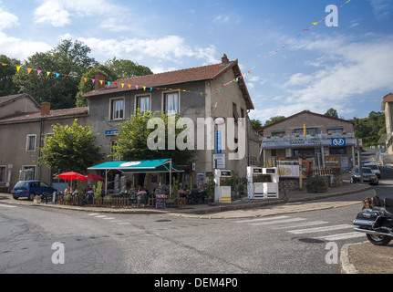 French hostel the Gite Bar le Kompost in St-Privat-d'Allier on the GR65 route, The way of St James, France - Stock Photo