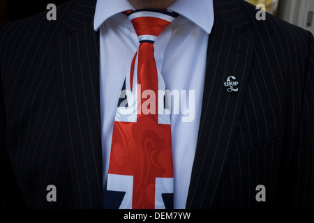 A Union jack tie and political pin detail of UKIP (UK Independence Party) member from Aylesbury Vale District council, - Stock Photo