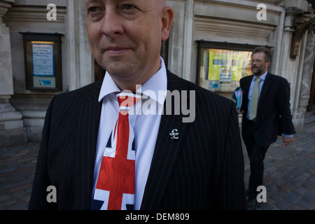 A Union jack tie and political pin portrait of UKIP (UK Independence Party) member from Aylesbury Vale District - Stock Photo