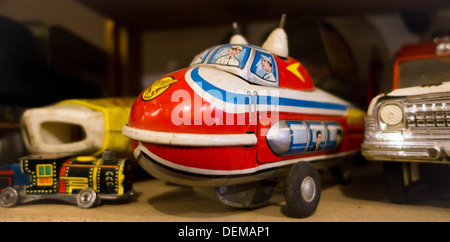 Vintage toy blimp car and truck in a Pittsburgh antique shop - Stock Photo
