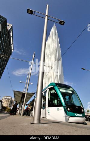 Tram and Torre Diagonal Zero Zero by Massip-Bosch architects under construction (2010), new Telefónica (Spanish - Stock Photo
