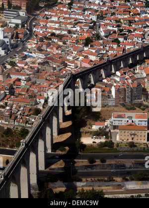 Aerial view of the Aguas Livres Aqueduct in Lisbon, Portugal - Stock Photo