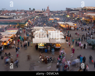 Food courts at Djemma el Fna square, Marrakech, Morocco - Stock Photo