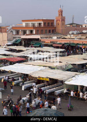 Food courts at Djemma el Fna square, Marrakesh, Morocco - Stock Photo