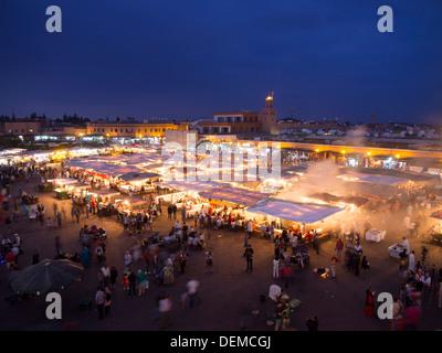 Food courts at Djemma el Fna square, Marrakesh, Morocco - Stock Photo