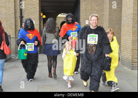 Southbank, London, UK. 21st September 2013.  Running the Great Gorilla Run on the Southbank. Credit:  Matthew Chattle/Alamy - Stock Photo