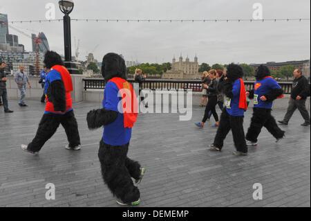 Southbank, London, UK. 21st September 2013.  A group running the Great Gorilla Run on the Southbank. Credit:  Matthew - Stock Photo
