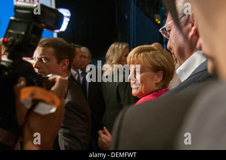 Berlin, Germany. September 21st 2013. Final straight elections with a speech by CDU Chancellor Angela Merlkel in - Stock Photo