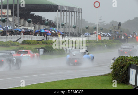 Vintage motor racing in wet conditions at the Goodwood Revival - Stock Photo