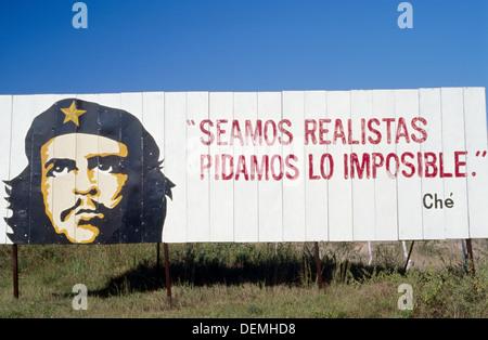 Road. Communist propaganda with Ché Guevara. Pinar del Río Province. Cuba. - Stock Photo