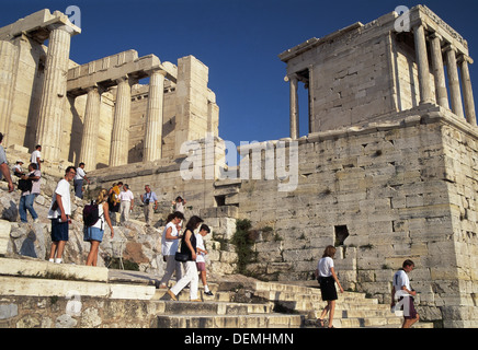 Propylaea and Temple of Athena Nike, Acropolis. Athens, Greece - Stock Photo