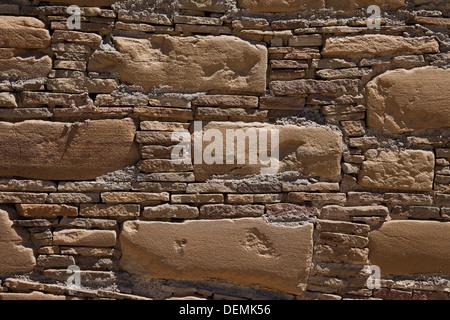 Masonry detail at Pueblo Bonito in Chaco Culture National Historical Park, New Mexico. - Stock Photo