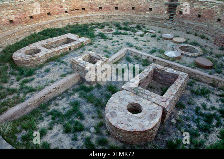 Detail of the great kiva at Chetro Ketl site in Chaco Culture National Historical Park, New Mexico. - Stock Photo