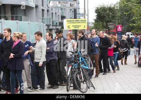 Battersea Power Station open house event, London, UK. 21st September 2013.  Picture shows hundreds of visitors queueing - Stock Photo