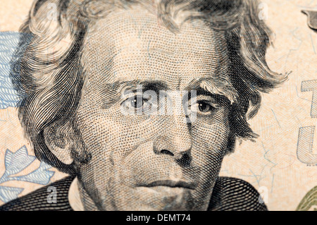 Fragment of twenty dollars bill with face of President Jackson - Stock Photo