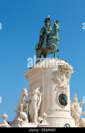 Monument of King Jose I, Lisbon, Portugal - Stock Photo