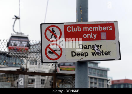 London, UK. 21st Sep, 2013. A sign written 'Club Member Only - Danger Deep Water'  at the Experience a different - Stock Photo