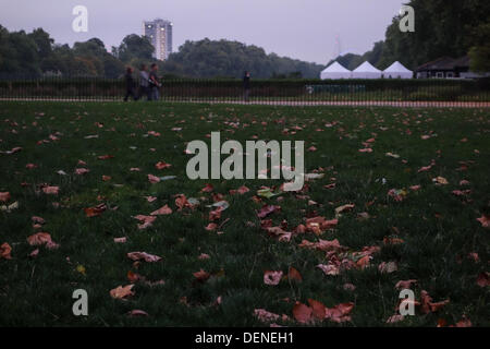 London, UK. 21st Sep, 2013. Leaves on the ground in Hyde Park, London, as Autumn arrives. Credit:  Andrea falletta/Alamy - Stock Photo