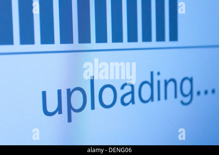 Closeup of Upload Process Bar on LCD Screen - Shallow Depth of Field - Stock Photo