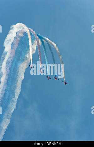 The red arrows - the Royal Air Force aerobatic team - at Cosford Air Show 2013 - Stock Photo