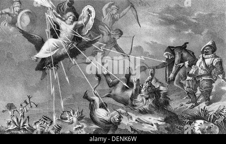 Jupiter, clutching thunderbolts and carrying a shield, descends to earth on the back of an eagle; he strikes down - Stock Photo