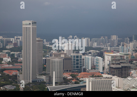 Singapur Singapore city sea buildings offices modern landscape panoramic Asia lighting cold bay architecture - Stock Photo
