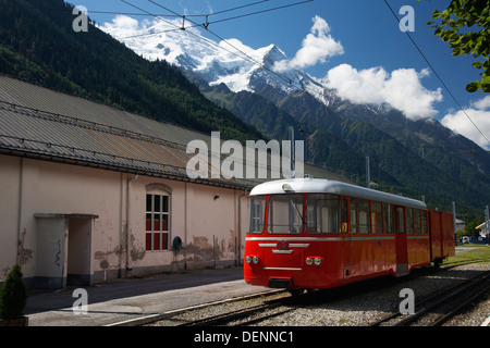 Montenvers funicular mountain train. Chamonix, with mont blanc massif in background - Stock Photo
