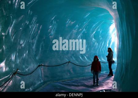 Grotte de la mer de glace ice cave in glacier, Chamonix, French Alps - Stock Photo