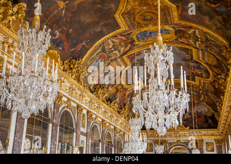 Ceiling and chandeliers lustre in the hall of mirrors cahteau ceiling and chandeliers lustre in the hall of mirrors cahteau de versailles aloadofball Gallery