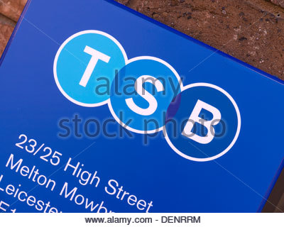 New TSB bank logo sign following split from LloydsTSB on Melton Mowbray Branch wall, Leicestershire, England, UK - Stock Photo
