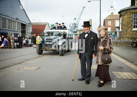 Chatham, UK. 21st Sep, 2013. Salute to the 40's - Britain's 1940's Home Front Event at The Historic Dockyard Chatham. - Stock Photo