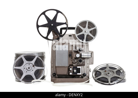 Vintage film with old projector isolated with clipping path. - Stock Photo