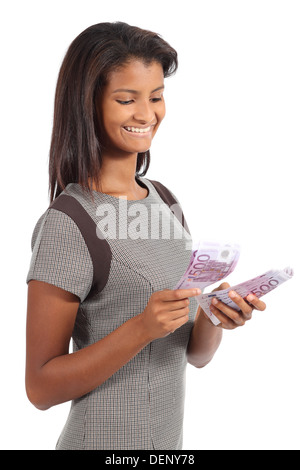 Beautiful african american businesswoman counting money isolated on a white background - Stock Photo
