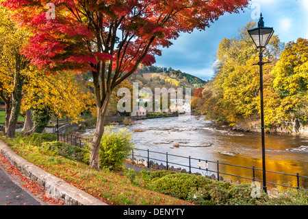 River Dee at llangollen in Denbighshire North Wales - Stock Photo