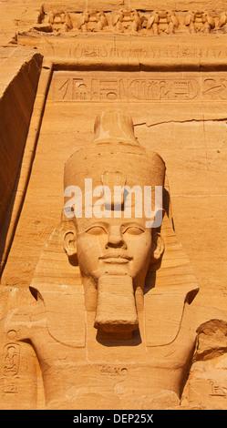 Ramesses II statue. Great Temple of Abu Simbel. Abu Simbel. Nile Valley. Egypt. - Stock Photo