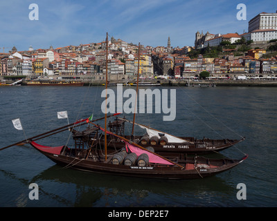 Rabelo boats traditionally used to transport Port wine on the river Douro, Porto, Portugal, Europe - Stock Photo