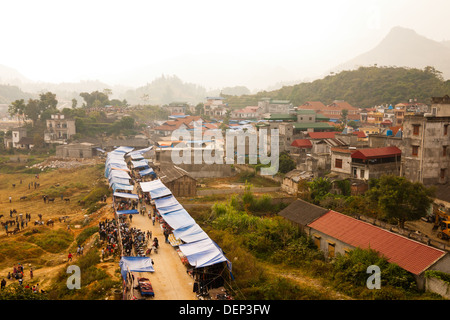 A bird's eye view of the colourful town of Bac Ha, which is situated in the hilly Sapa Region of Lao Cai Province, - Stock Photo