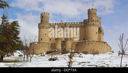 Castle, Manzanares el Real, Madrid, Spain - Stock Photo