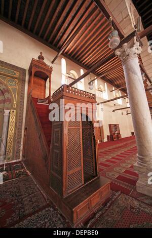 Mosque Minbar in Amr Ibn Al-als mosque, City of Cairo, Egypt - Stock Photo