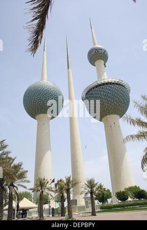 Kuwait towers, the famous landmark in Kuwait, Kuwait City - Stock Photo