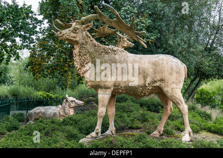 Stag/deer statue, Crystal Palace park, London England. - Stock Photo