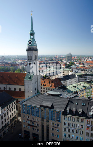 Rooftop view from the neues rathaus looking towards the tower of st peterskirche munich germany - Stock Photo