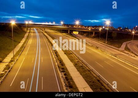 Radial 3 toll motorway, night view. Madrid, Spain. - Stock Photo